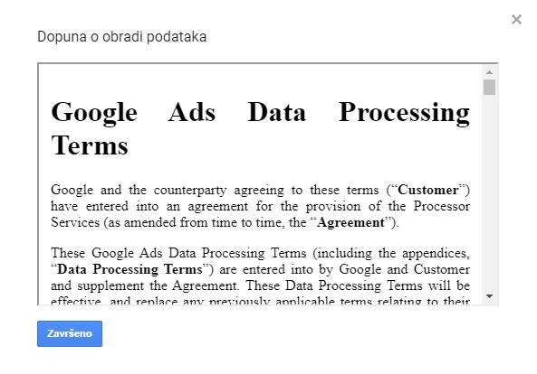 Ugovor o obradi Google Analytics