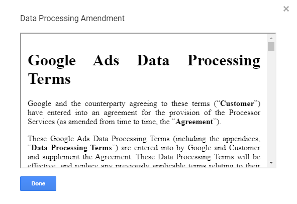 Sign data processing agreement