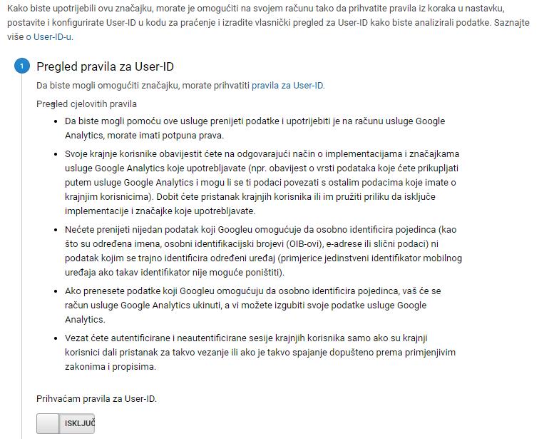 Pregled pravila za user ID